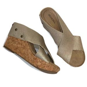 Merona Metallic Criss Cross Cork Wedges 6M